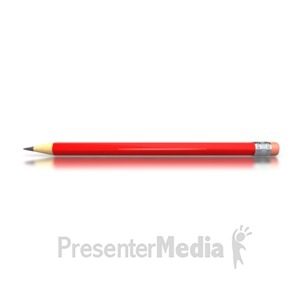 ID# 3248 - Red Pencil Horizontal - Presentation Clipart