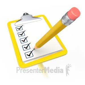 ID# 3271 - Pencil Draw Checkmark Yellow Clipboard - Presentation Clipart