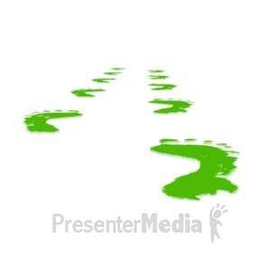 ID# 3289 - Green Perspective Footprints - Presentation Clipart