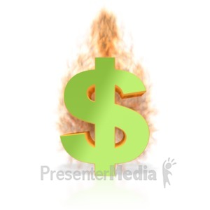 ID# 3292 - Dollar Sign on Fire - Presentation Clipart