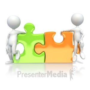 ID# 3312 - Puzzle Pieces Connected  - Presentation Clipart
