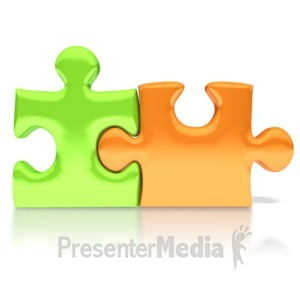 ID# 3325 - Orange Green Puzzle Pieces Connected - Presentation Clipart