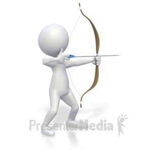 ID# 3327 - Stick Figure with Bow and Arrow  - Presentation Clipart