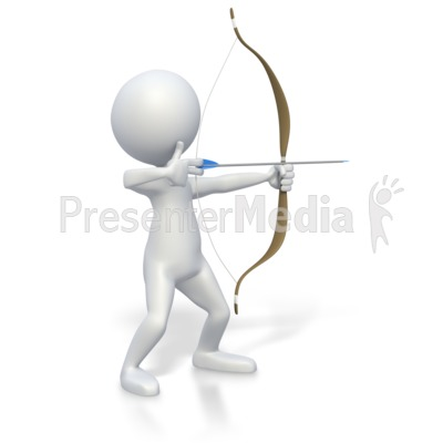 Stick Figure with Bow and Arrow  PowerPoint Clip Art