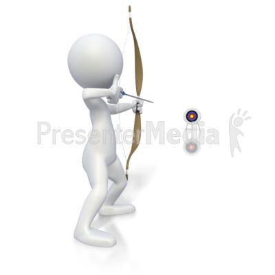 Stick Figure Archery Long Shot  PowerPoint Clip Art