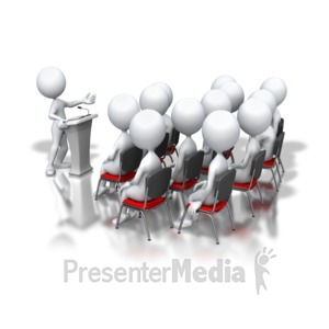 ID# 3351 - Stick Figure Podium Speech Group - Presentation Clipart
