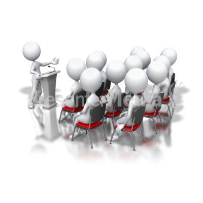 Stick Figure Podium Speech Group PowerPoint Clip Art