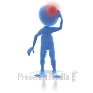ID# 3364 - 3D Stick Figure Headache Pain - Presentation Clipart