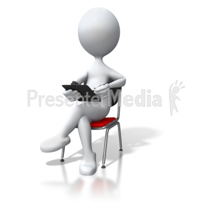 Stick Figure Sitting In Chair Clipboard PowerPoint Clip Art