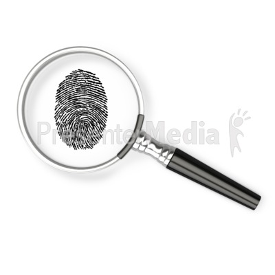 Magnifying Glass Fingerprint PowerPoint Clip Art