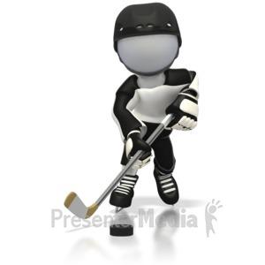 ID# 3390 - Hockey Fast Break Away  - Presentation Clipart