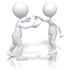 ID# 3392 - Stick Figures Heated Conversation  - Presentation Clipart