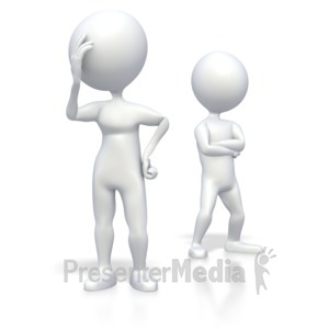 ID# 3398 - Stick Figures Couple Problems - Presentation Clipart