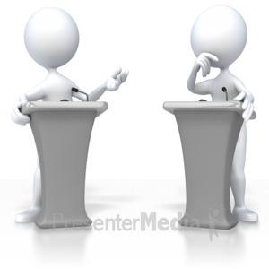 ID# 3399 - Stick Figure Debate  - Presentation Clipart
