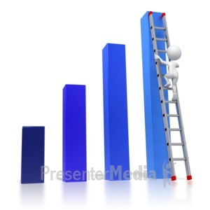 ID# 3411 - Bar Graph Ladder Climb - Presentation Clipart