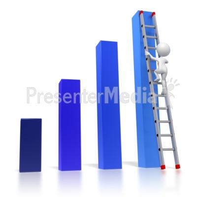 Bar Graph Ladder Climb PowerPoint Clip Art