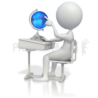 Student at Desk with Globe PowerPoint Clip Art