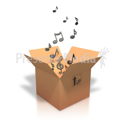 Music Notes Coming Out Of Box PowerPoint Clip Art