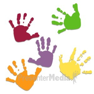 ID# 3431 - Five Colored Hand Prints - Presentation Clipart