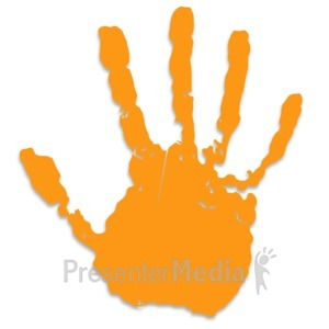 ID# 3437 - Single Orange Hand Print - Presentation Clipart