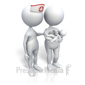 ID# 3452 - Nurse And Mom Holding Baby - Presentation Clipart