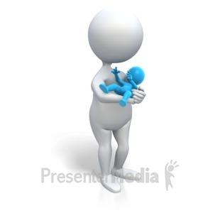 ID# 3453 - Mom Holding Baby Boy - Presentation Clipart