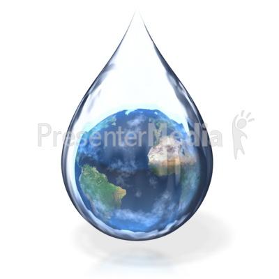 Earth Water Drop PowerPoint Clip Art
