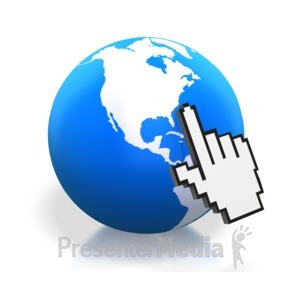 ID# 3460 - Earth Digital Hand Pointing North Americ - Presentation Clipart