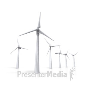 ID# 3490 - Group Of Wind Turbines - Presentation Clipart