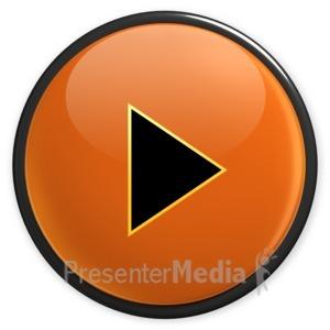 ID# 3496 - Arrow Orange Play Button - Presentation Clipart