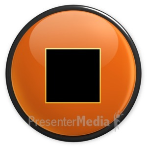 ID# 3497 - Arrow Orange Stop Button - Presentation Clipart