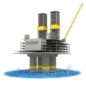 ID# 3503 - Off Shore Oil Rig In Water  - Presentation Clipart