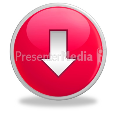 Glossy Red Button Arrow Down PowerPoint Clip Art