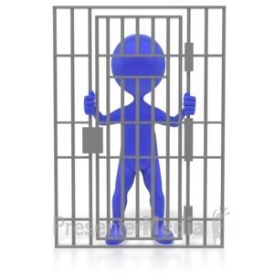ID# 3522 - Figure Behind Bars - Presentation Clipart