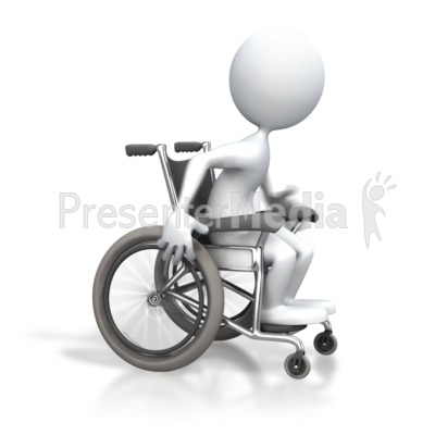 Stick Figure Racing Wheelchair PowerPoint Clip Art