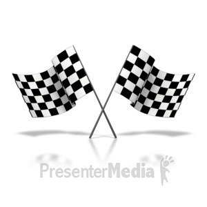 ID# 3526 - Two Checkered Flags Waving - Presentation Clipart