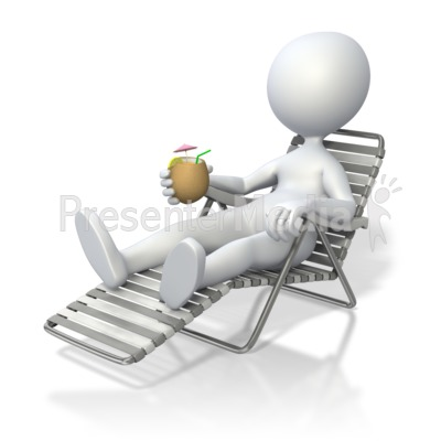 Stick Figure Relaxing in Beach Chair  PowerPoint Clip Art