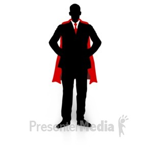 ID# 3542 - Business Guy Super Hero - Presentation Clipart