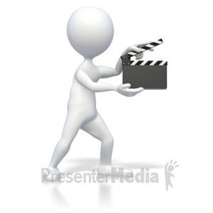ID# 3548 - Stick Figure With Clap Board  - Presentation Clipart