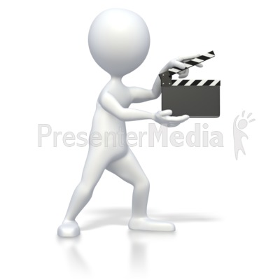 Stick Figure With Clap Board  PowerPoint Clip Art