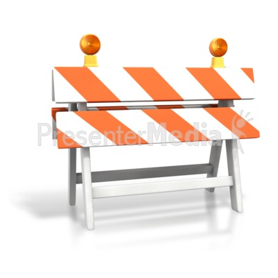 Construction Roadblock PowerPoint Clip Art