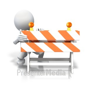 ID# 3563 - Stick Figure Hiding Behind Blockade - Presentation Clipart