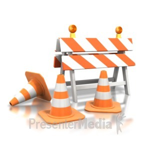 ID# 3576 - Construction Roadblock Cones - Presentation Clipart
