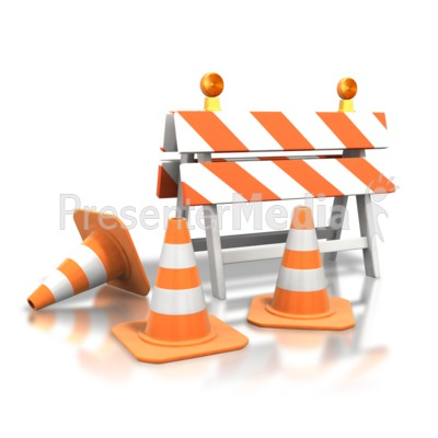 Construction Roadblock Cones PowerPoint Clip Art