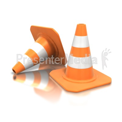 Construction Cone Pair PowerPoint Clip Art