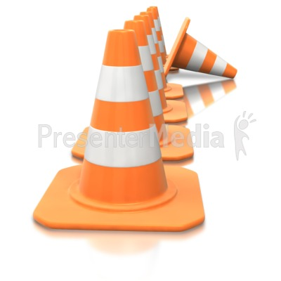 Construction Cone Line Tip Over PowerPoint Clip Art