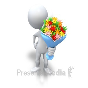 ID# 3592 - Stick Figure Giving Bouquet Flowers - Presentation Clipart