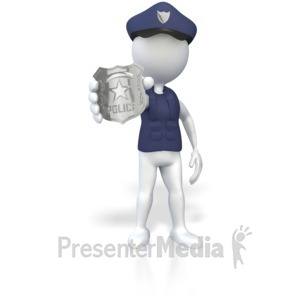 ID# 3595 - Police Officer Holding Badge  - Presentation Clipart