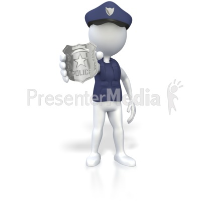 Police Officer Holding Badge  PowerPoint Clip Art