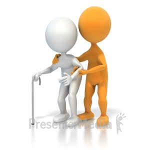 ID# 3597 - Helping an Elderly Person - Presentation Clipart